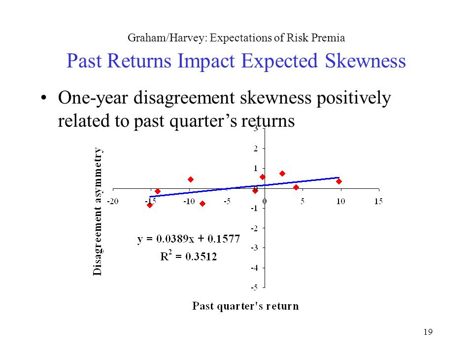 19 Graham/Harvey: Expectations of Risk Premia Past Returns Impact Expected Skewness One-year disagreement skewness positively related to past quarter's returns