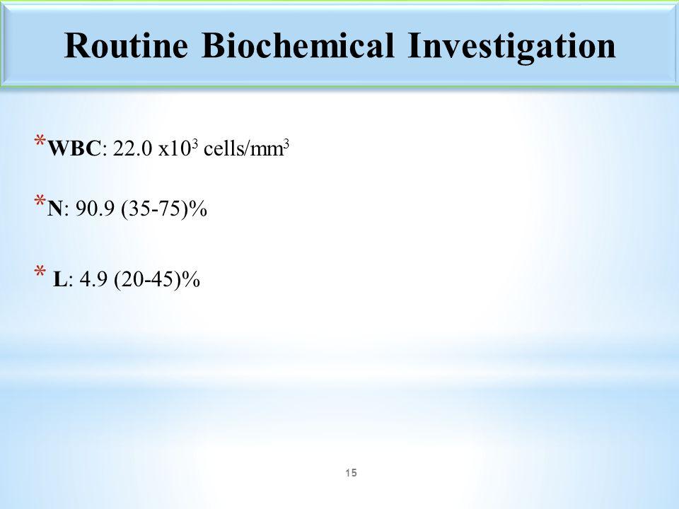 * WBC: 22.0 x10 3 cells/mm 3 * N: 90.9 (35-75)% * L: 4.9 (20-45)% Routine Biochemical Investigation 15