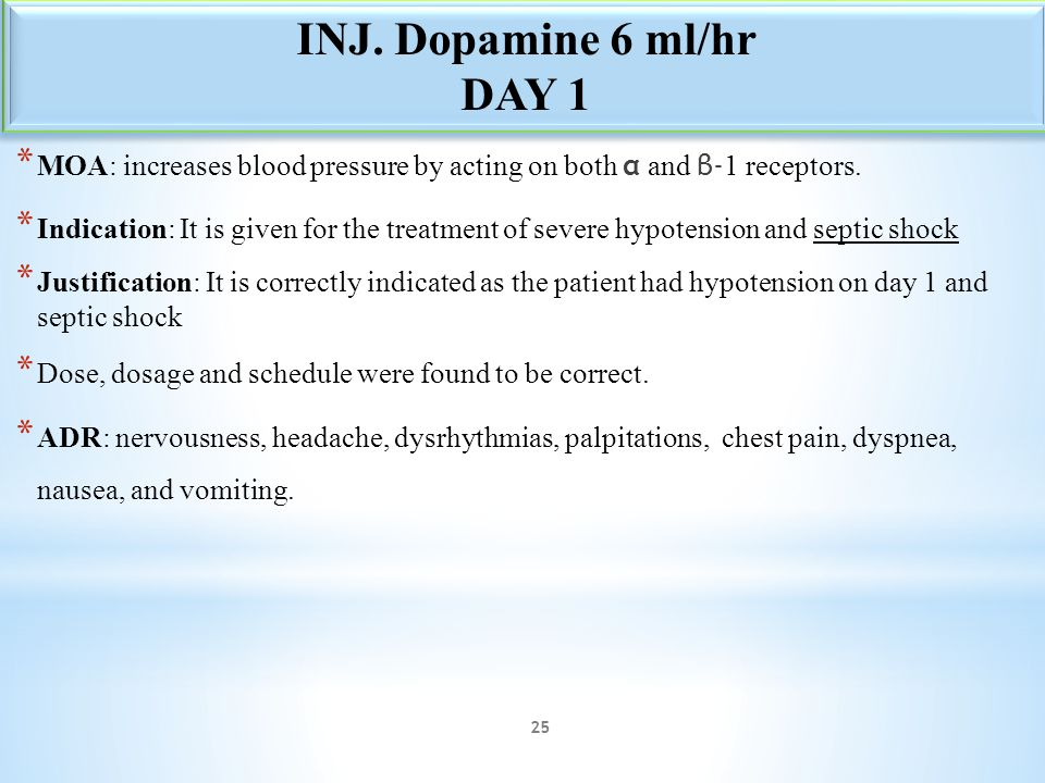 * MOA: increases blood pressure by acting on both α and β- 1 receptors. * Indication: It is given for the treatment of severe hypotension and septic s