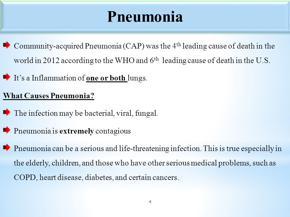 Community-acquired Pneumonia (CAP) was the 4 th leading cause of death in the world in 2012 according to the WHO and 6 th leading cause of death in th