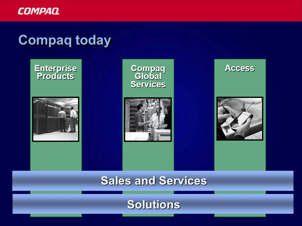 Access Compaq today Enterprise Products Compaq Global Services Sales and Services Solutions