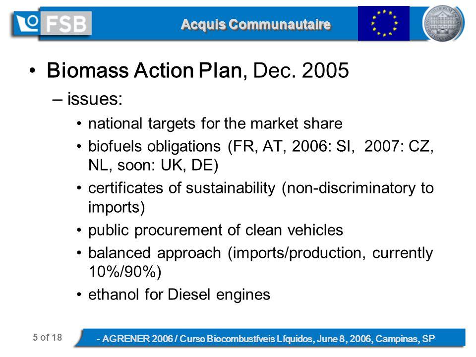 5 of 18 - AGRENER 2006 / Curso Biocombustíveis Líquidos, June 8, 2006, Campinas, SP Acquis Communautaire Biomass Action Plan, Dec.