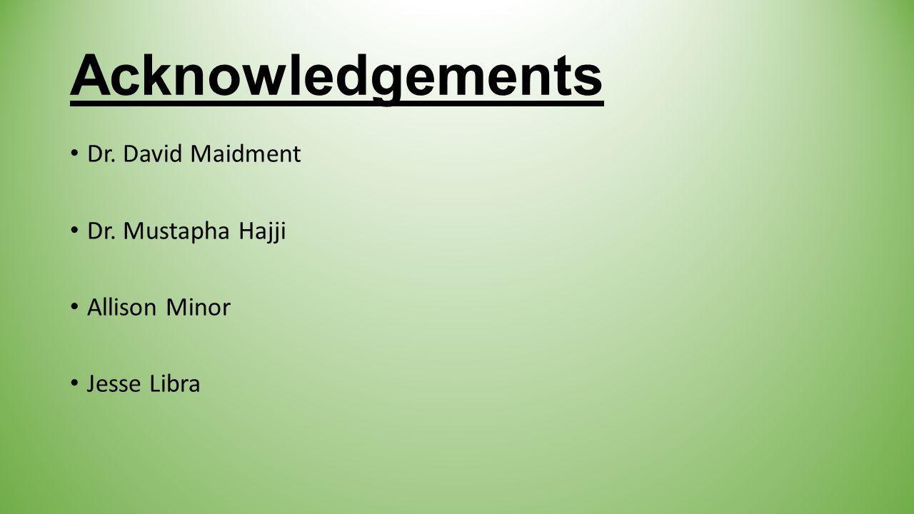 Acknowledgements Dr. David Maidment Dr. Mustapha Hajji Allison Minor Jesse Libra