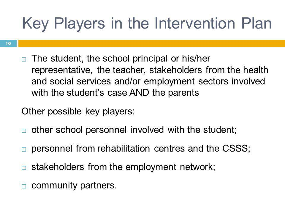 10 Key Players in the Intervention Plan  The student, the school principal or his/her representative, the teacher, stakeholders from the health and social services and/or employment sectors involved with the student's case AND the parents Other possible key players:  other school personnel involved with the student;  personnel from rehabilitation centres and the CSSS;  stakeholders from the employment network;  community partners.
