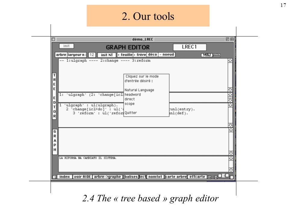16 2. Our tools 2.4 The « tree based » graph editor