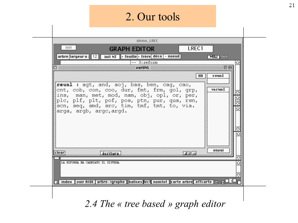 20 2. Our tools 2.4 The « tree based » graph editor