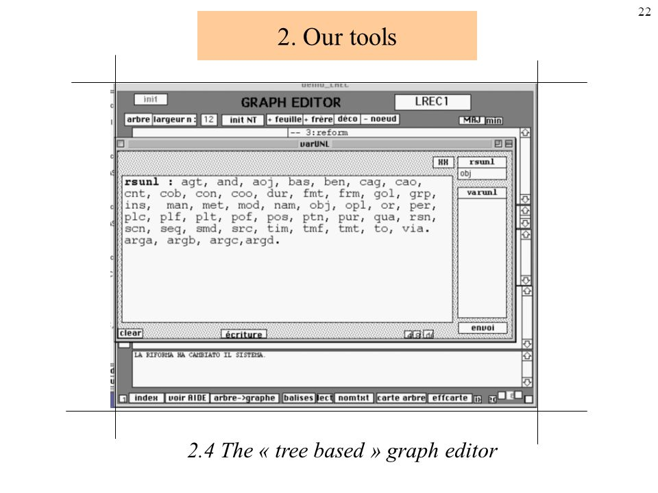 21 2. Our tools 2.4 The « tree based » graph editor