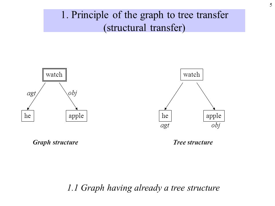 4 - 1. Principle of the graph to tree transfer - 2. Our tools - 3. Discussion