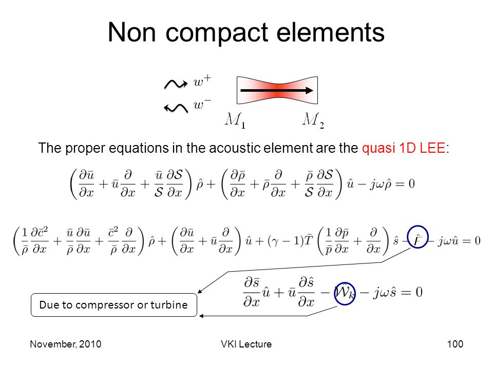 Non compact elements The proper equations in the acoustic element are the quasi 1D LEE: Due to compressor or turbine November, 2010100VKI Lecture