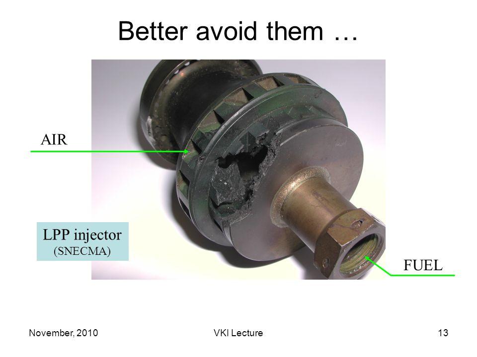 November, 2010VKI Lecture13 Better avoid them … LPP SNECMA AIR FUEL LPP injector (SNECMA)