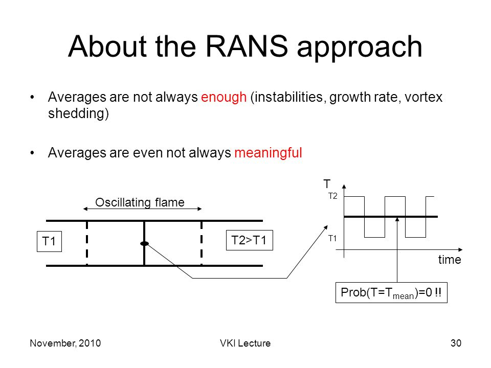 November, 2010VKI Lecture30 About the RANS approach Averages are not always enough (instabilities, growth rate, vortex shedding) Averages are even not always meaningful T1 T2>T1 T time Oscillating flame T2 T1 Prob(T=T mean )=0 !!