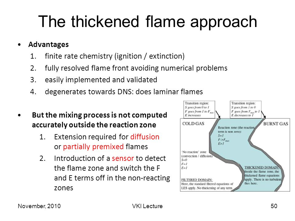 November, 2010VKI Lecture50 The thickened flame approach Advantages 1.finite rate chemistry (ignition / extinction) 2.fully resolved flame front avoiding numerical problems 3.easily implemented and validated 4.degenerates towards DNS: does laminar flames But the mixing process is not computed accurately outside the reaction zone 1.Extension required for diffusion or partially premixed flames 2.Introduction of a sensor to detect the flame zone and switch the F and E terms off in the non-reacting zones