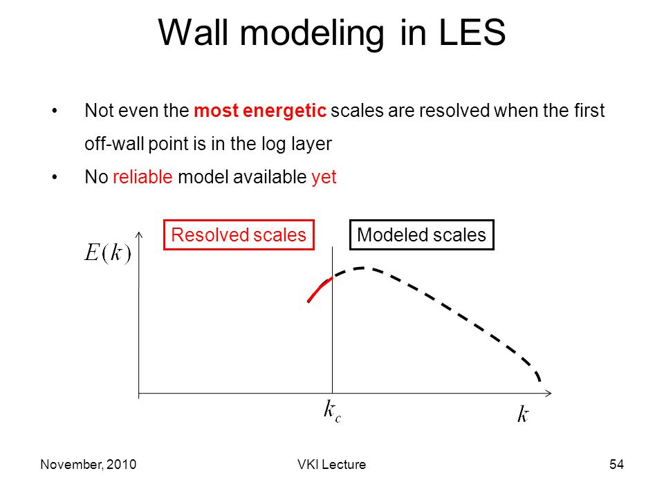 Not even the most energetic scales are resolved when the first off-wall point is in the log layer No reliable model available yet Modeled scalesResolved scales November, 2010VKI Lecture54 Wall modeling in LES