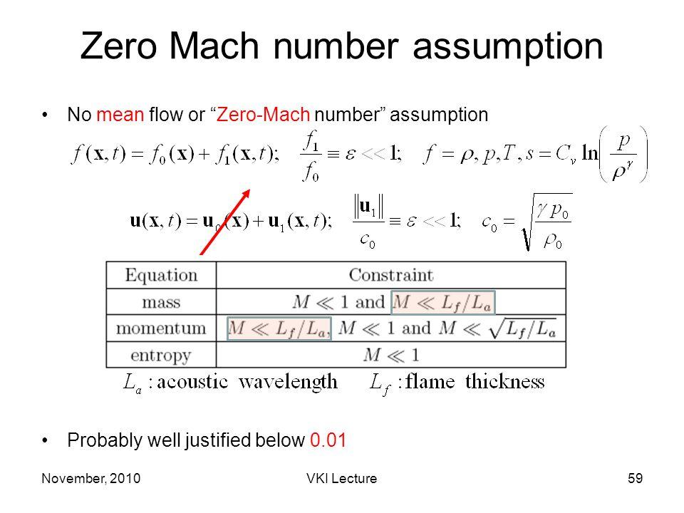 November, 2010VKI Lecture59 Zero Mach number assumption No mean flow or Zero-Mach number assumption Probably well justified below 0.01