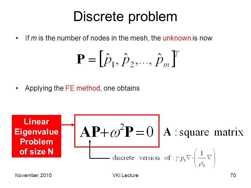November, 2010VKI Lecture70 Discrete problem If m is the number of nodes in the mesh, the unknown is now Applying the FE method, one obtains Linear Eigenvalue Problem of size N