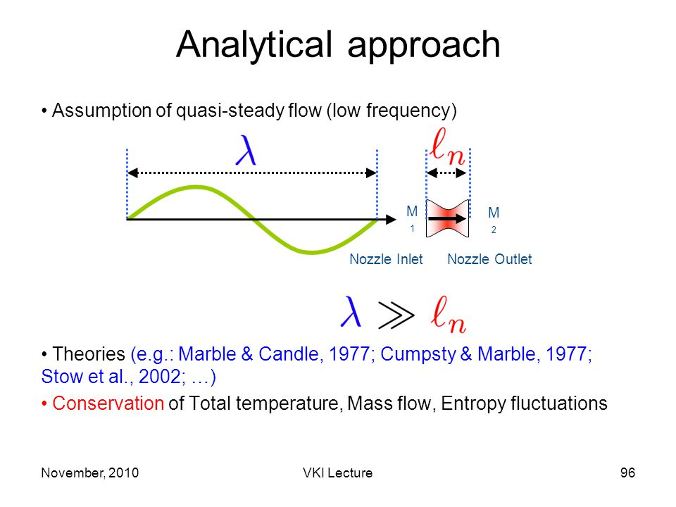 Assumption of quasi-steady flow (low frequency) Theories (e.g.: Marble & Candle, 1977; Cumpsty & Marble, 1977; Stow et al., 2002; …) Conservation of Total temperature, Mass flow, Entropy fluctuations M2M2 M1M1 Nozzle InletNozzle Outlet Analytical approach November, 201096VKI Lecture