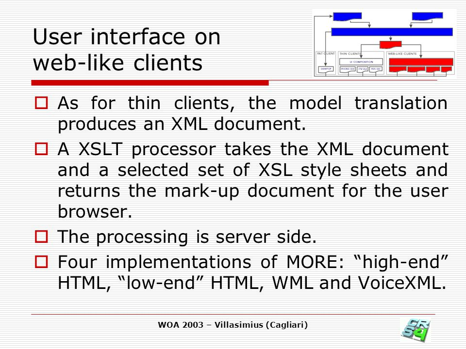 WOA 2003 – Villasimius (Cagliari) User interface on web-like clients  As for thin clients, the model translation produces an XML document.  A XSLT p
