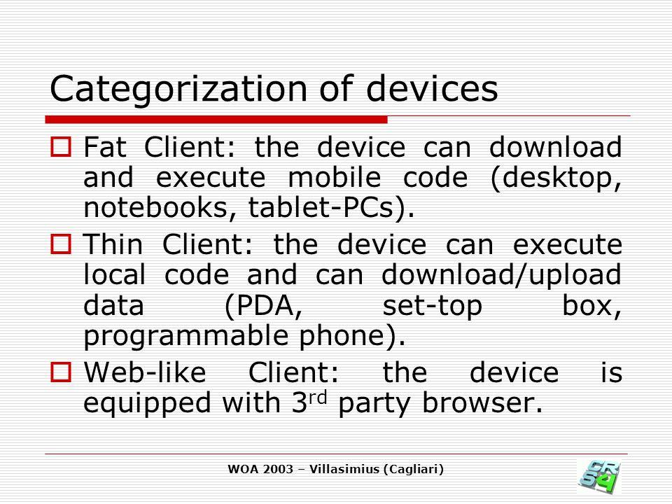 WOA 2003 – Villasimius (Cagliari) Cons  Limited customization of user interface.