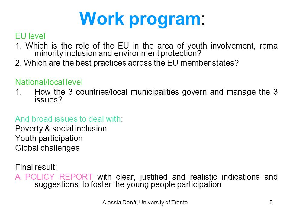 Alessia Donà, University of Trento5 Work program: EU level 1. Which is the role of the EU in the area of youth involvement, roma minority inclusion an