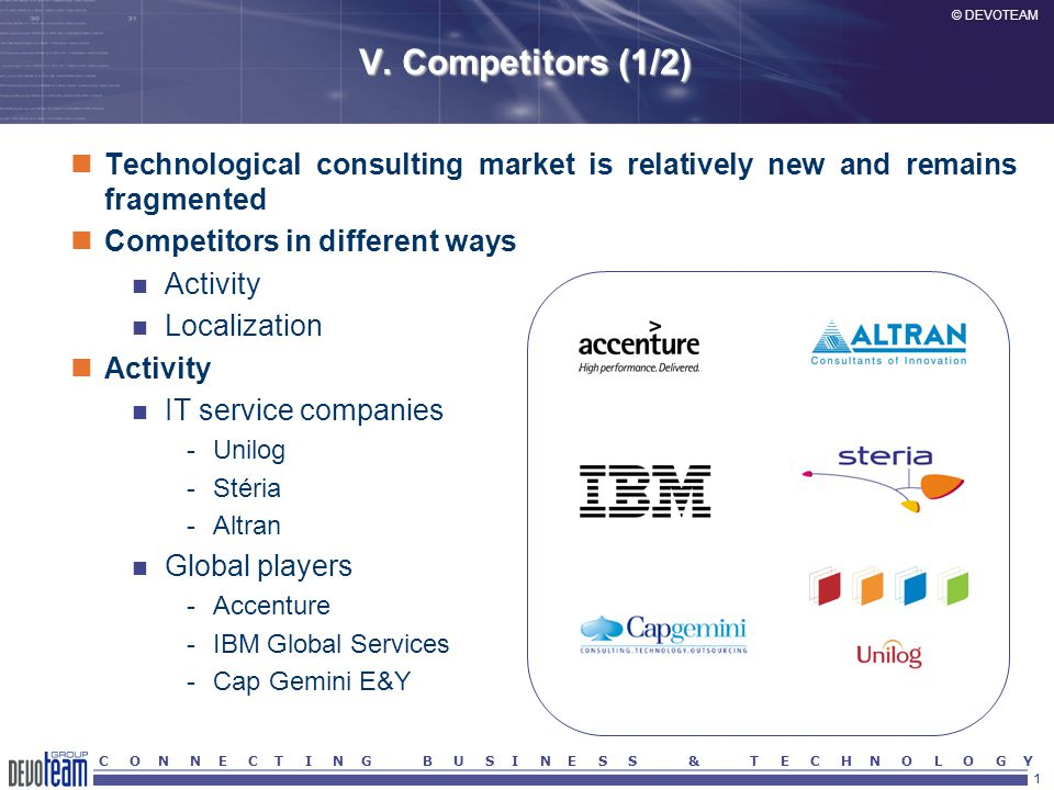 1 © DEVOTEAM C O N N E C T I N G B U S I N E S S & T E C H N O L O G Y V. Competitors (1/2) Technological consulting market is relatively new and rema