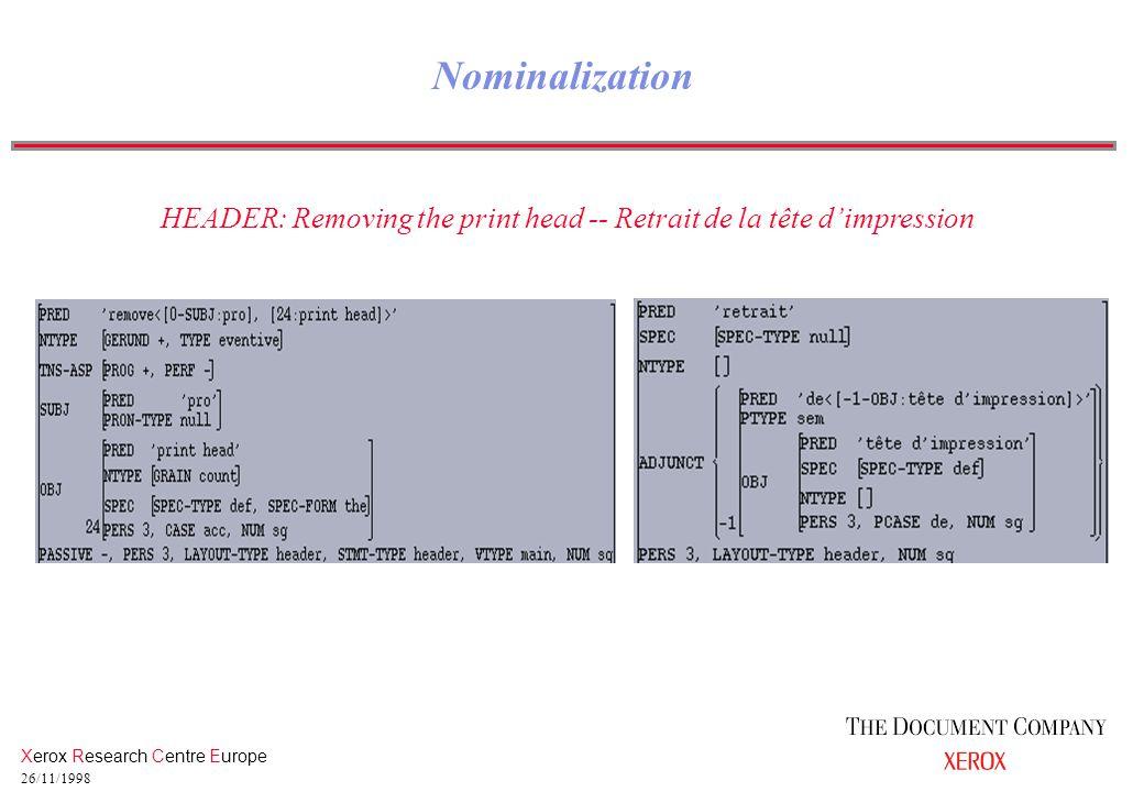 Xerox Research Centre Europe 26/11/1998 Nominalization HEADER: Removing the print head -- Retrait de la tête d'impression