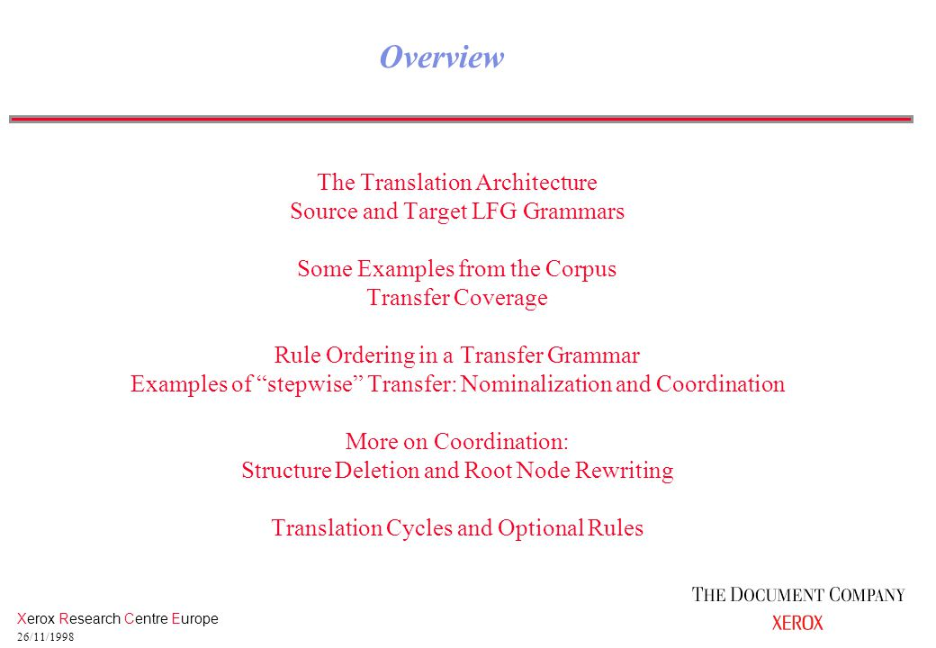 Xerox Research Centre Europe 26/11/1998 The Translation Architecture Source and Target LFG Grammars Some Examples from the Corpus Transfer Coverage Rule Ordering in a Transfer Grammar Examples of stepwise Transfer: Nominalization and Coordination More on Coordination: Structure Deletion and Root Node Rewriting Translation Cycles and Optional Rules Overview