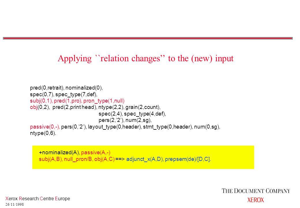 Xerox Research Centre Europe 26/11/1998 pred(0,retrait), nominalized(0), spec(0,7), spec_type(7,def), subj(0,1), pred(1,pro), pron_type(1,null) obj(0,2), pred(2,print head), ntype(2,2), grain(2,count), spec(2,4), spec_type(4,def), pers(2,'2'), num(2,sg), passive(0,-), pers(0,'2'), layout_type(0,header), stmt_type(0,header), num(0,sg), ntype(0,6).