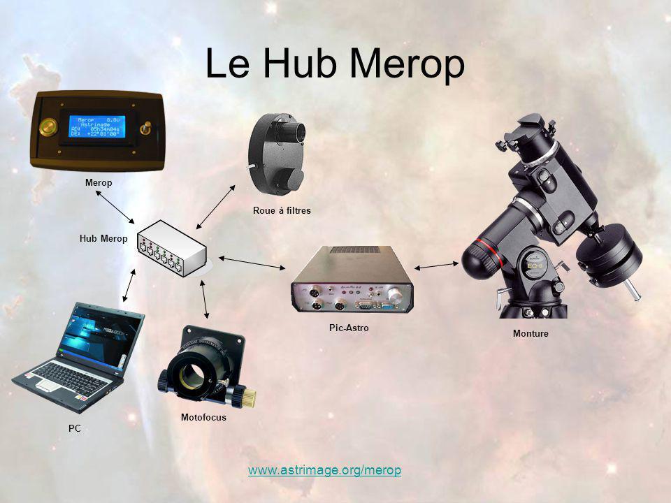 www.astrimage.org/merop Le Hub Merop Motofocus Pic-Astro Hub Merop Merop Roue à filtres Monture PC