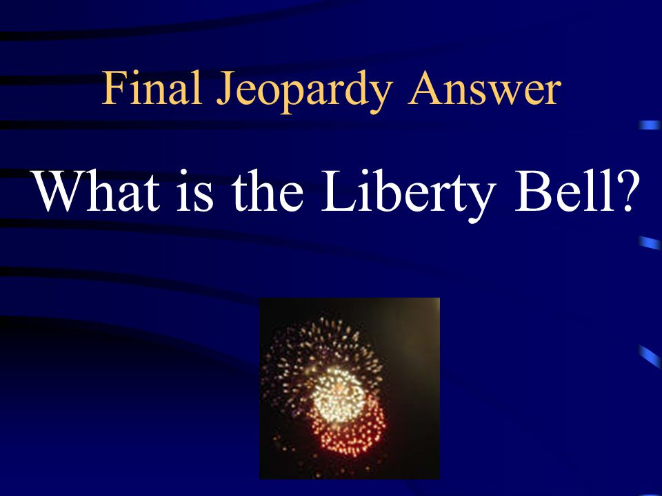 Final Jeopardy This landmark was ordered from London in 1752 by Philadelphia leaders to later become a symbol of political freedom.