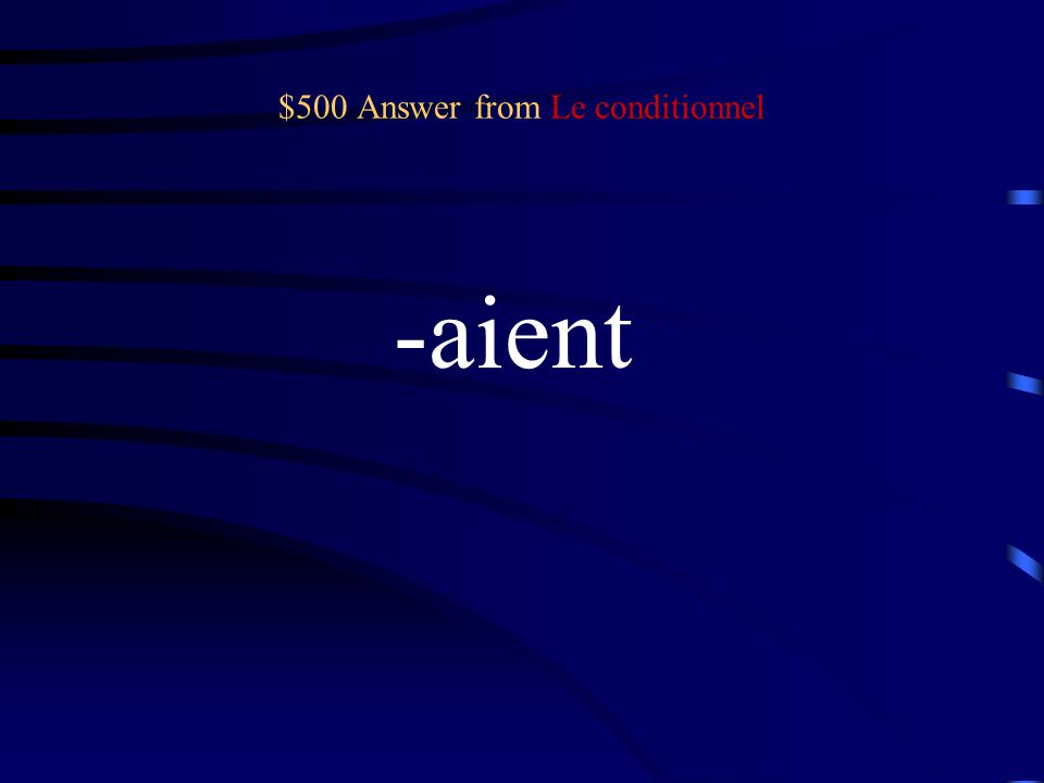 $500 Question from Le conditionnel Ils/Elles