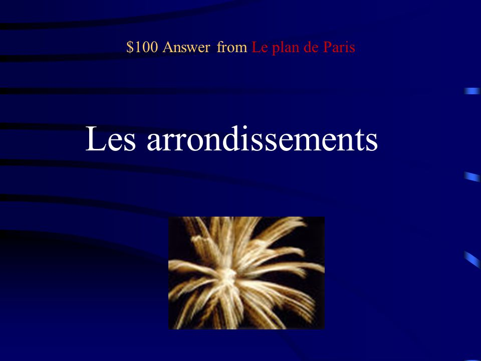 $100 Question from Le plan de Paris What are the 20 districts of Paris called