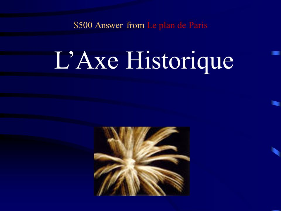 $500 Question from Le plan de Paris What do we call the imaginary line that stretches from the Louvre to la Défense