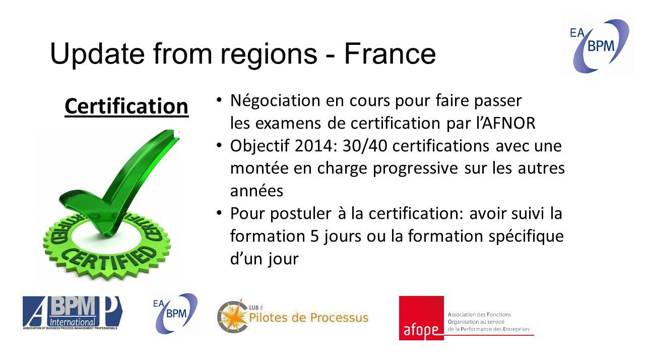 Update from regions - France Certification Négociation en cours pour faire passer les examens de certification par l'AFNOR Objectif 2014: 30/40 certifications avec une montée en charge progressive sur les autres années Pour postuler à la certification: avoir suivi la formation 5 jours ou la formation spécifique d'un jour