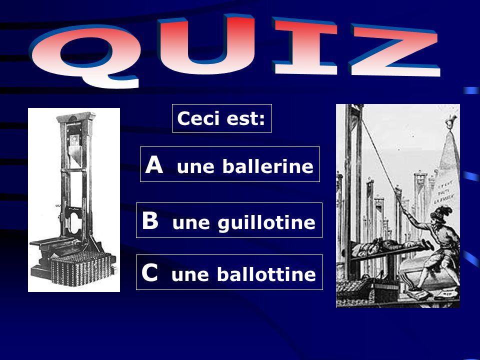 B une guillotine A une ballerine C une ballottine Ceci est: