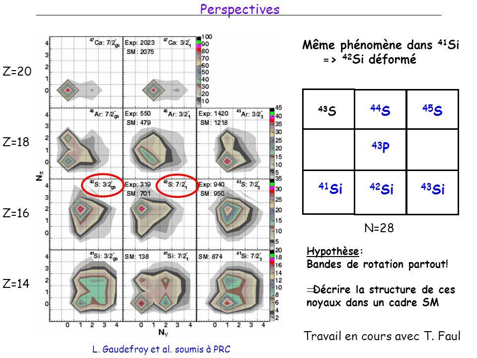 Perspectives Z=20 Z=18 Z=16 Z=14 Même phénomène dans 41 Si => 42 Si déformé 44 S 42 Si N=28 43 S 45 S 43 Si 41 Si 43 P Hypothèse: Bandes de rotation partout.