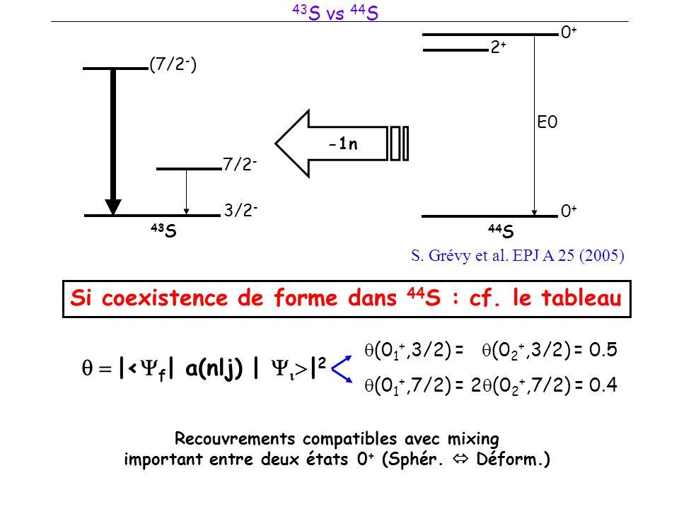 3/2 - 7/2 - (7/2 - ) 43 S 43 S vs 44 S 0+0+ 44 S 0+0+ 2+2+ E0 S. Grévy et al. EPJ A 25 (2005) -1n Si coexistence de forme dans 44 S : cf. le tableau 