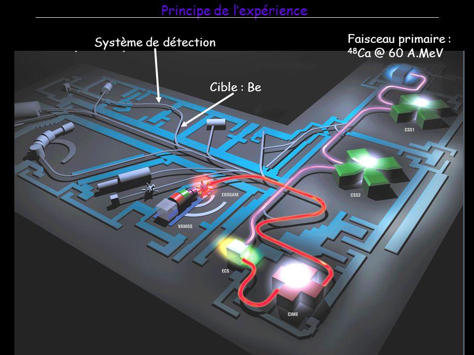 Principe de l'expérience Faisceau primaire : 48 Ca @ 60 A.MeV Cible : Be Système de détection