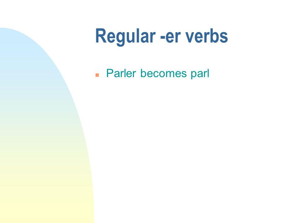 Regular -er verbs n Parler becomes parl