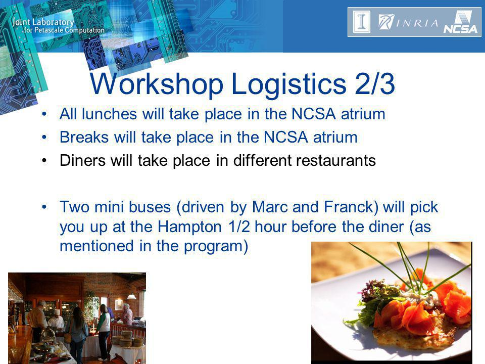 Workshop Logistics 2/3 All lunches will take place in the NCSA atrium Breaks will take place in the NCSA atrium Diners will take place in different restaurants Two mini buses (driven by Marc and Franck) will pick you up at the Hampton 1/2 hour before the diner (as mentioned in the program)