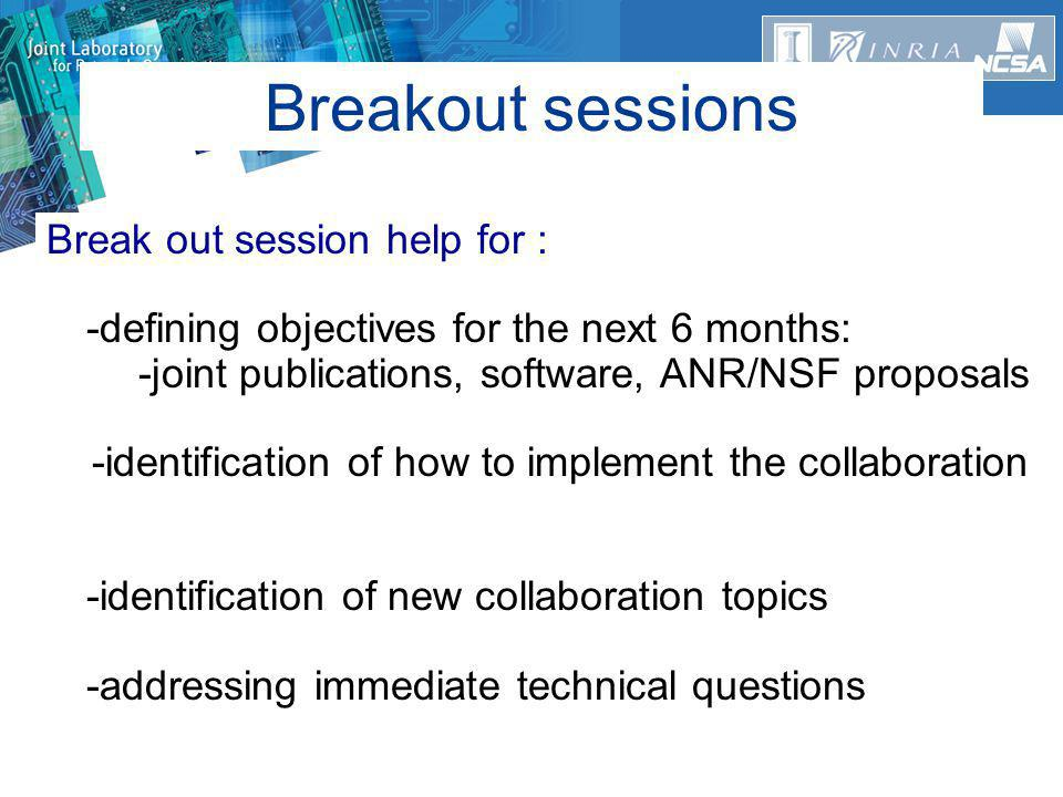 Break out session help for : -defining objectives for the next 6 months: -joint publications, software, ANR/NSF proposals -identification of how to implement the collaboration -identification of new collaboration topics -addressing immediate technical questions