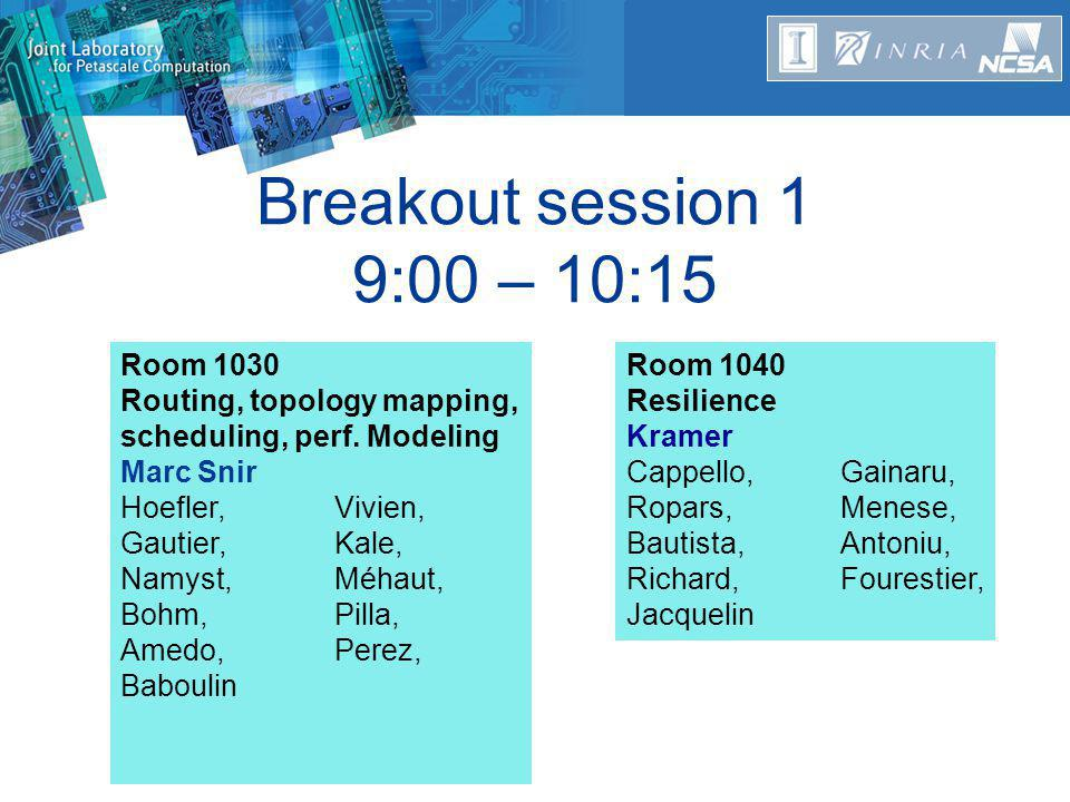 Breakout session 1 9:00 – 10:15 Room 1030 Routing, topology mapping, scheduling, perf.
