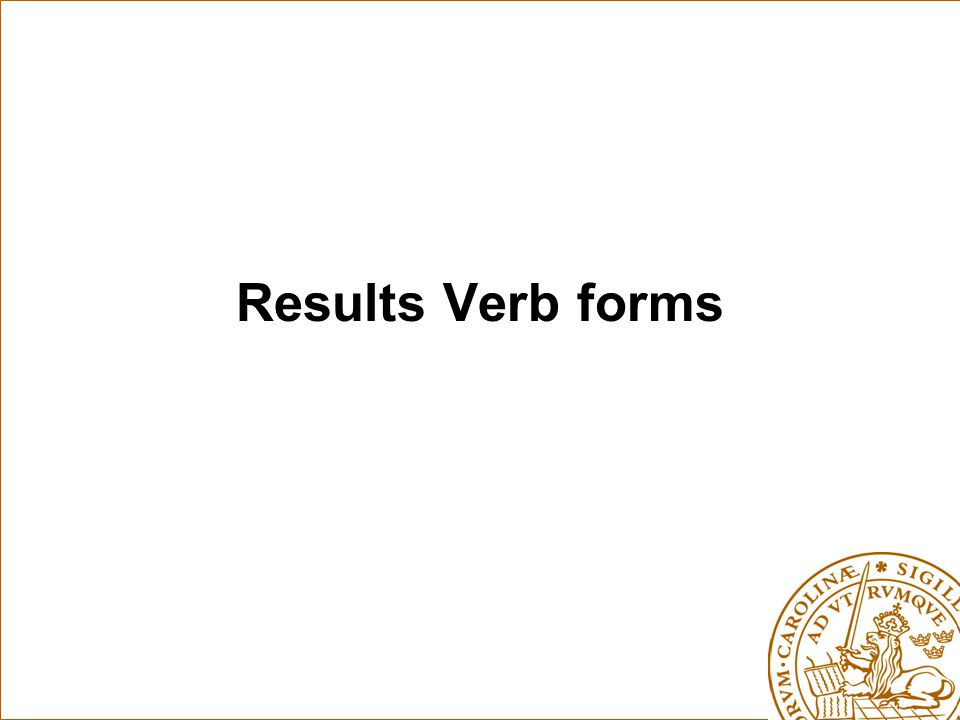 Results Verb forms