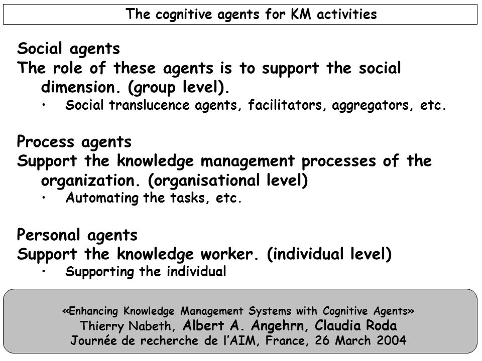 «Enhancing Knowledge Management Systems with Cognitive Agents» Thierry Nabeth, Albert A. Angehrn, Claudia Roda Journée de recherche de l'AIM, France,