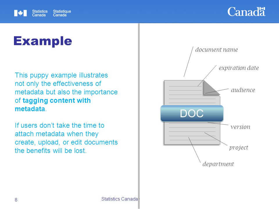 27/10/2014 Statistics Canada Statistique Canada 8 Example This puppy example illustrates not only the effectiveness of metadata but also the importance of tagging content with metadata.