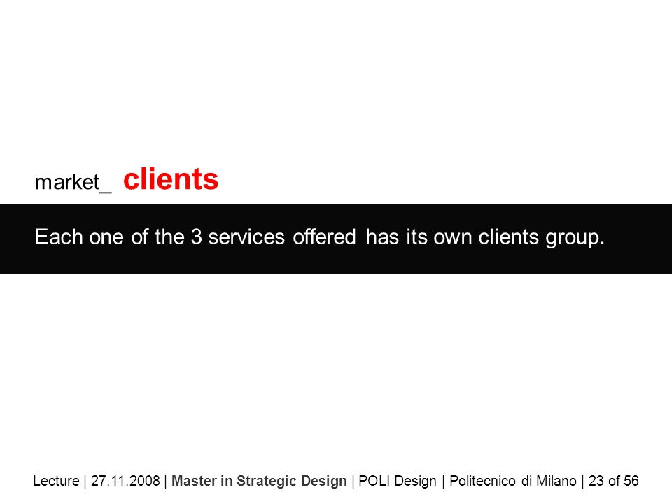 market_ clients Each one of the 3 services offered has its own clients group.