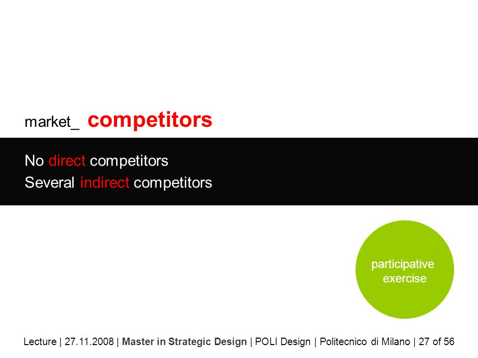 market_ competitors No direct competitors Several indirect competitors Lecture | 27.11.2008 | Master in Strategic Design | POLI Design | Politecnico di Milano | 27 of 56 participative exercise