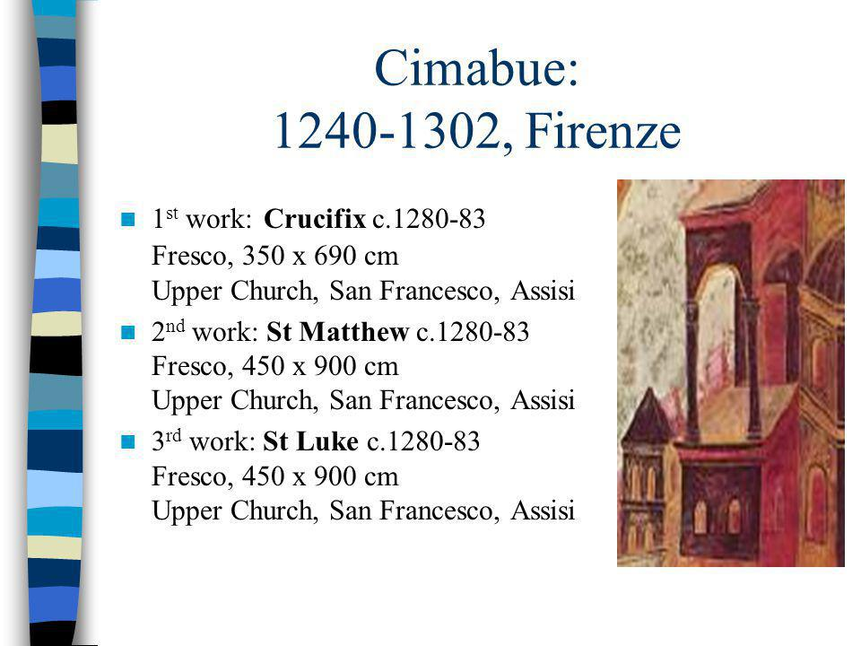 Cimabue: 1240-1302, Firenze 1 st work: Crucifix c.1280-83 Fresco, 350 x 690 cm Upper Church, San Francesco, Assisi 2 nd work: St Matthew c.1280-83 Fre