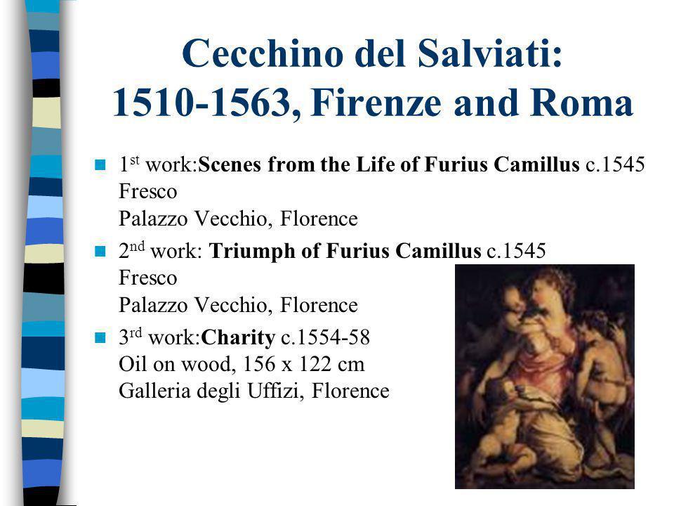 Cecchino del Salviati: 1510-1563, Firenze and Roma 1 st work:Scenes from the Life of Furius Camillus c.1545 Fresco Palazzo Vecchio, Florence 2 nd work