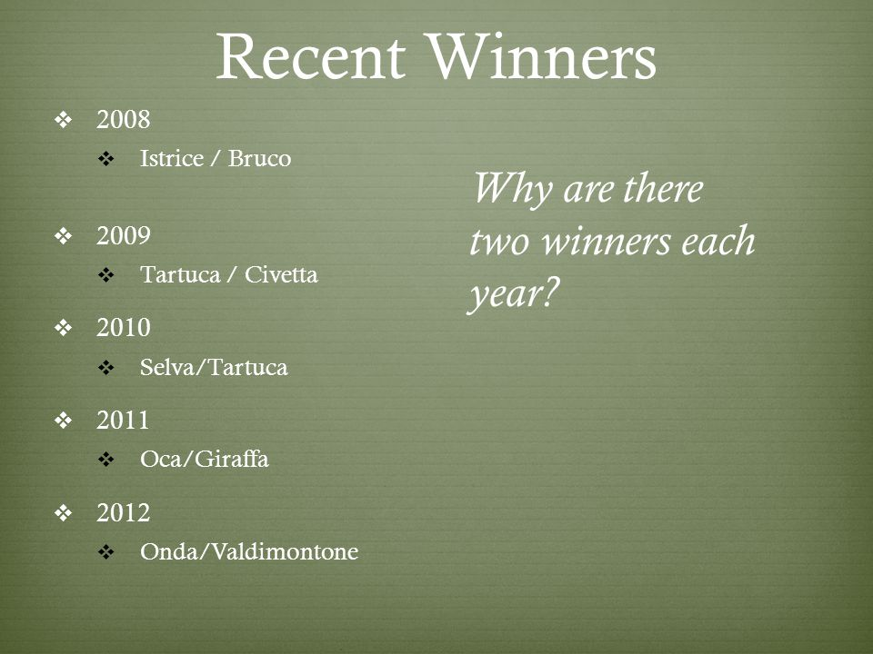 Recent Winners  2008  Istrice / Bruco  2009  Tartuca / Civetta  2010  Selva/Tartuca  2011  Oca/Giraffa  2012  Onda/Valdimontone Why are there two winners each year