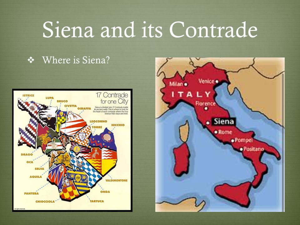 Siena and its Contrade  Where is Siena